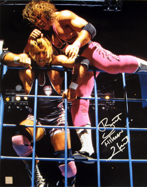 "Owen Hart And Bret Hart Bret ""hitman"" hart signed"